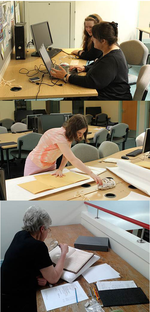 A montage of colour photographs of volunteers (all women) working on archive collections.
