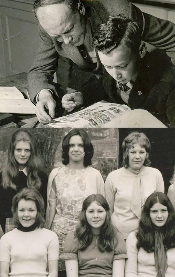 A montage of two photographs, both in black and white. The top one shows a teacher with a schoolboy looking at stamps, and the bottom shows six female sixth form students in a formal photograph in two rows.